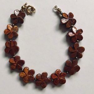Flowered Koa Wood Bracelet from Hawaii